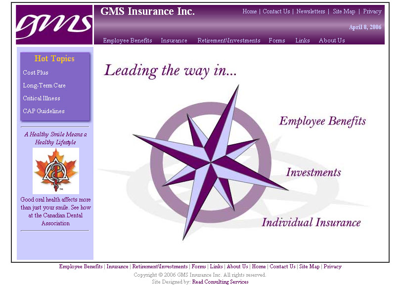 GMS Insurance Incorporated home page in 2006