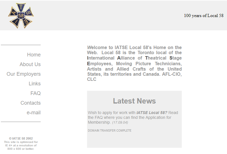 The IATSE Local 58 website in 2007