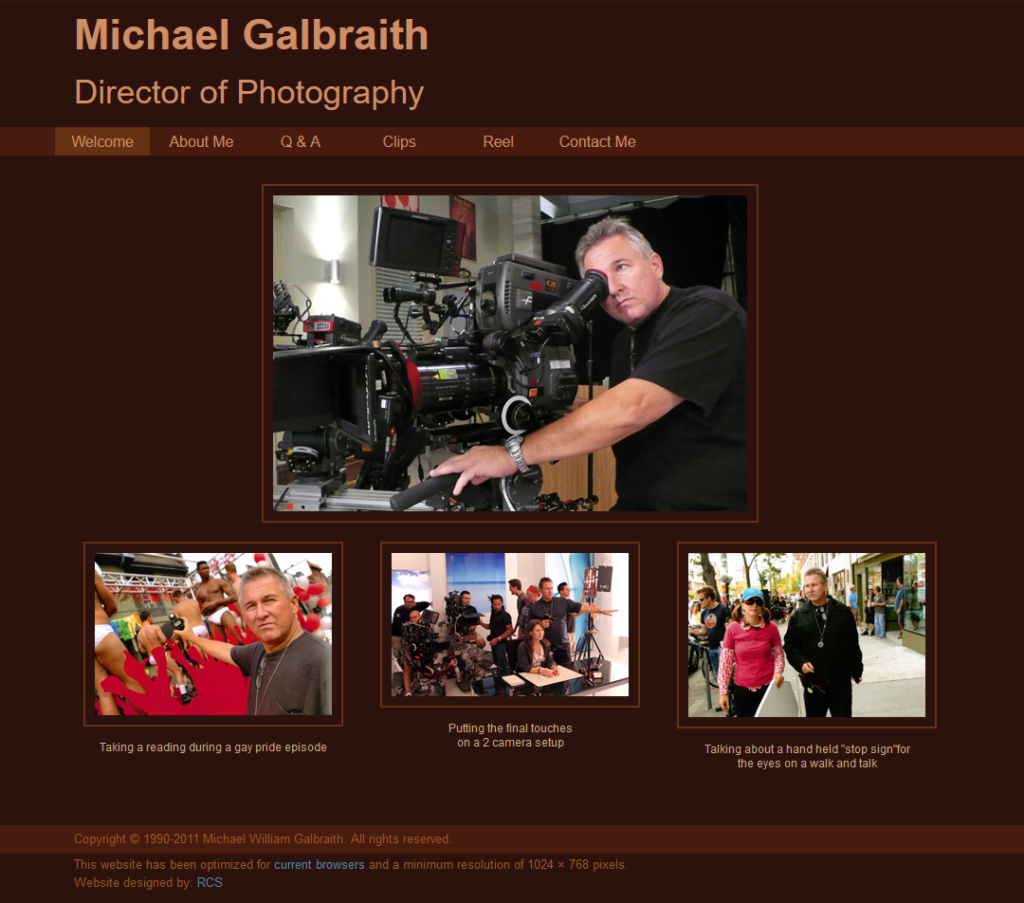 Michael Galbraith's home page in 2011.