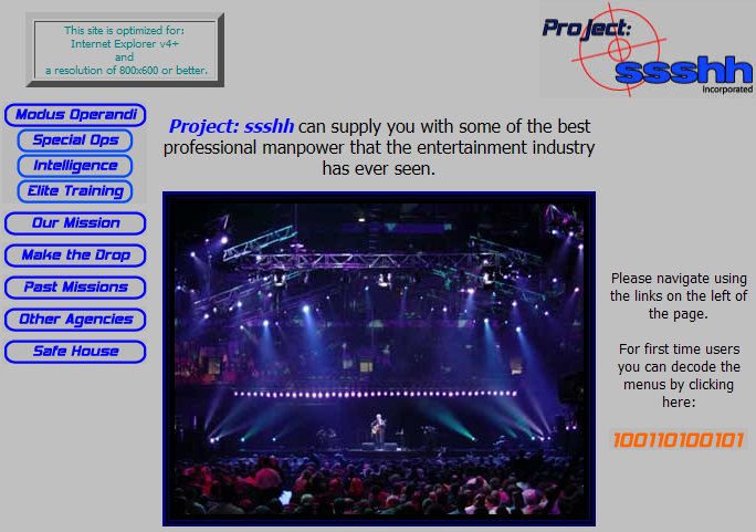 The first Project SSSHH Inc site in 2001