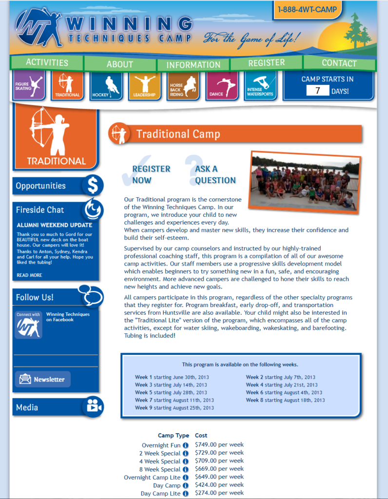 Winning Techniques Incorporated Camp Program page.