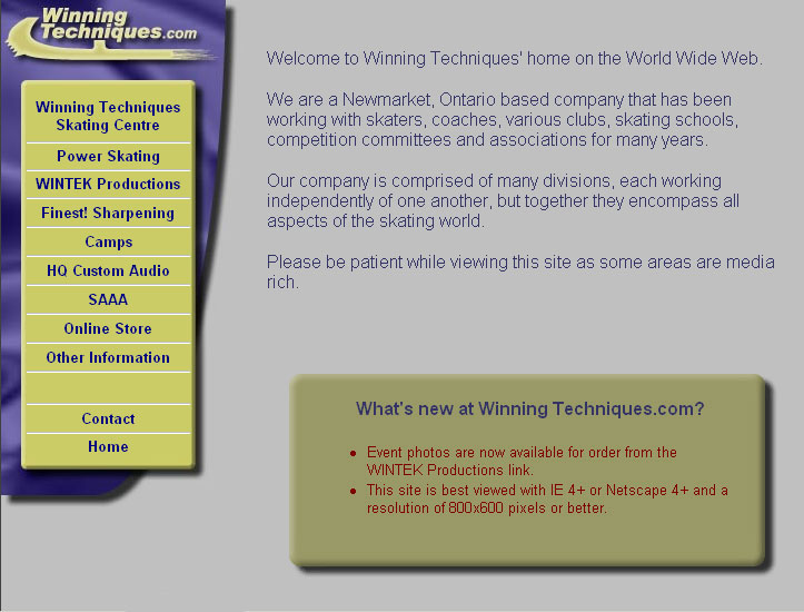 Winning Techniques Home Page in 2001