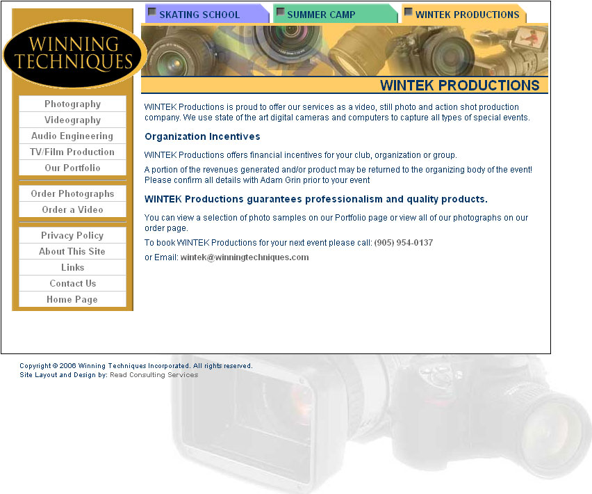The Winning Techniques Inc home page in 2006.